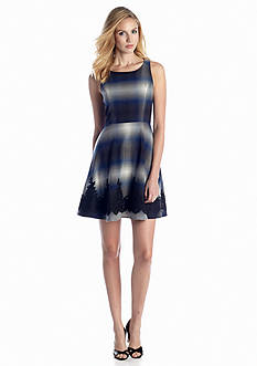 Jessica Simpson Fit-and-Flare Printed Dress with Lace