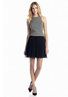 Jessica Simpson Sleeveless Pleated Fit-and-Flare Dress