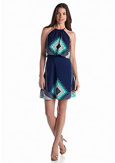 Jessica Simpson Printed Halter Pullover Dress