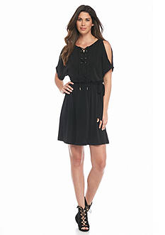 Jessica Simpson Lace-Up Neck Dress