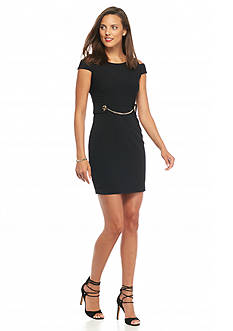 Jessica Simpson Cold Shoulder Chain Belt Sheath Dress