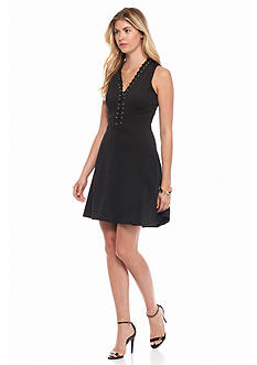 Jessica Simpson Sleeveless Lace-Front Dress with Grommets