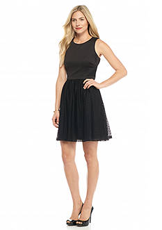 Jessica Simpson Mixed Media Fit and Flare Dress