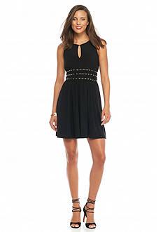 Jessica Simpson Stud-Waist Fit and Flare Dress