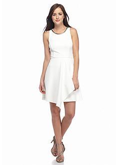 Jessica Simpson Chain-Neckline Faux Wrap Dress