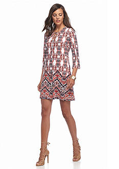 Jessica Simpson Printed Lace-Up V-Neck Shift Dress