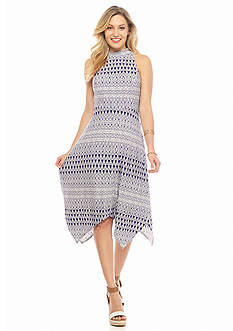 Jessica Simpson Mock-Neck Hankie Hem Dress