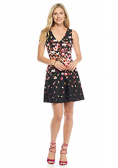 Jessica Simpson Floral Printed Scuba Fit and Flare Dress