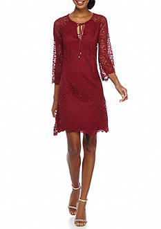 Jessica Simpson Lace Tie-Neck Shift Dress