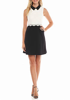 Jessica Simpson Colorblock Dress with Popover Lace
