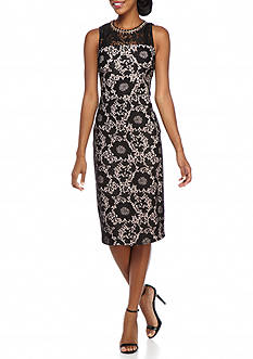 Jessica Simpson Chain Neckline Lace Sheath Dress