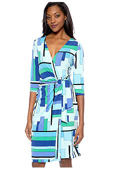 Kim Rogers® Three-Quarter Sleeved Wrap Dress