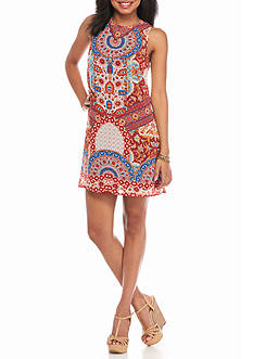 BeBop Patch Printed Shift Dress