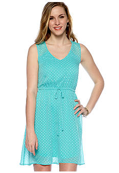 BeBop Sleeveless Swiss Dot Hi-Lo Dress