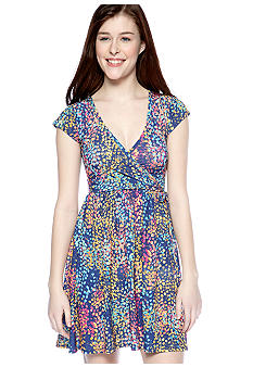 BeBop Short Sleeve Printed Wrap Dress