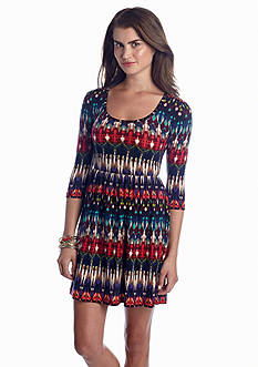 Poof Blur Print Hacci Knit Dress