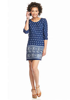 BeBop Elastic Long Sleeve Elephant Print Knit Dress