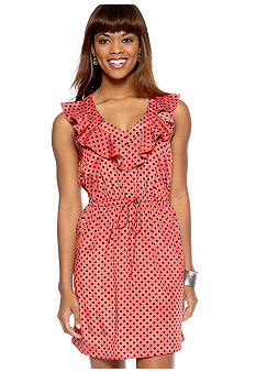 BeBop Sleeveless V Neck Ruffle Polka Dot Dress