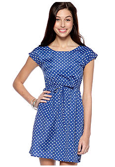 BeBop Double Dot Boat Neck Zip Back Dress