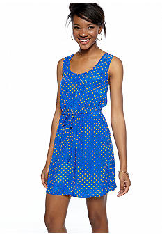BeBop Sleeveless Dot Print Cut Out Dress