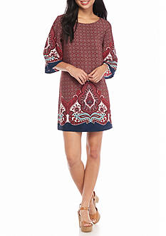 BeBop Scroll Border Print Dress