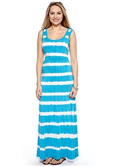 New Directions Tie Dye Striped Belted Maxi Dress