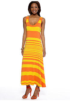New Directions Striped Maxi Tank Dress