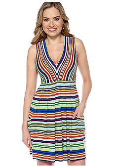 New Directions Sleeveless V-Neck Stripe Dress