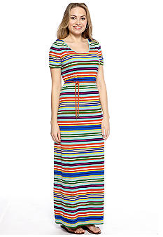 Short-Sleeved Stripe Maxi Dress