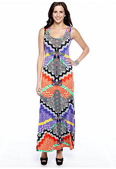 New Directions Sleeveless Tribal Print Maxi Dress