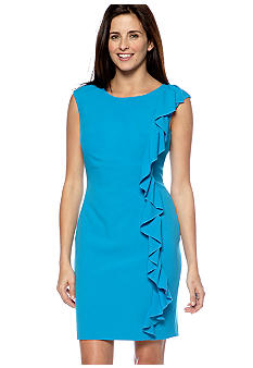 New Directions Side Ruffled Sheath Dress