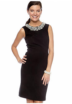 New Directions Pearl Neck Sheath Dress