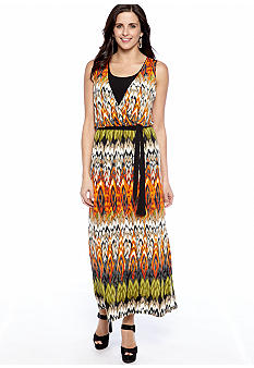 New Directions Sleeveless Printed Belted Maxi Dress