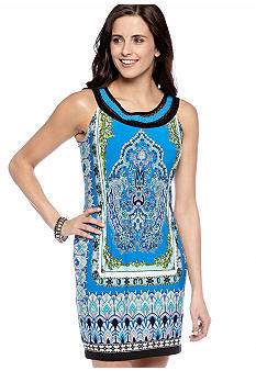 New Directions Sleeveless Printed Shift Dress with Sequins