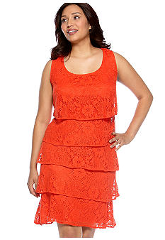 New Directions Plus Size Sleeveless Allover Lace Tiered Dress