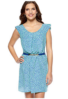 Trixxi Cap Sleeve Print Belted Dress