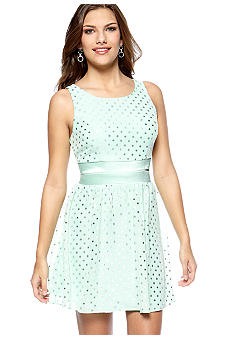 Trixxi Sleeveless Chiffon Dot Cut Out Dress