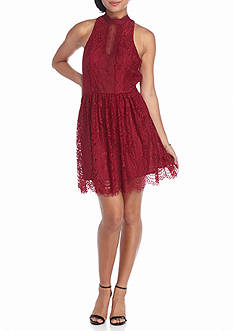 Trixxi Lace Hi Neck Dress