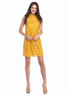 Trixxi High Neck Allover Crochet Dress