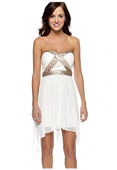 Trixxi Sheer Gold Sequin Dress