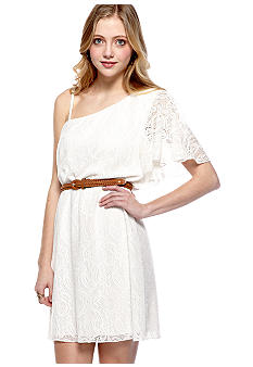 Trixxi Crochet Knit One Shoulder Ivory Dress with Belt Detail