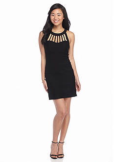 Trixxi Cage Neckline Sheath Dress