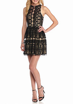 Trixxi High Neck Lace Dress