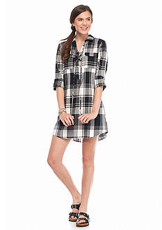 Society Girl Lace Up Plaid Shift Dress