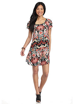 Trixxi Short Sleeve Floral Print Swing Dress