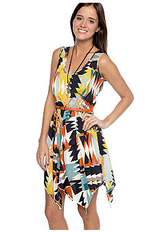 Trixxi Sleeveless Belted Dress with Back Detail