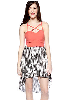 Trixxi Zig-Zag Stripe High Low Dress