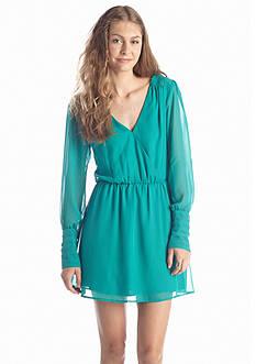 Trixxi Solid Faux Wrap Dress
