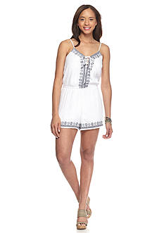 Trixxi Embroidered Trim Crepon Woven Short Romper