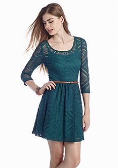 Trixxi Geo Lace Skater Dress